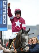 16 March 2018; Jockey Jack Kennedy celebrates after winning the JCB Triumph Hurdle on Farclas on Day Four of the Cheltenham Racing Festival at Prestbury Park in Cheltenham, England. Photo by Seb Daly/Sportsfile