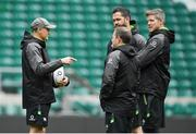 16 March 2018; Ireland head coach Joe Schmidt with his coaching staff, kicking coach Richie Murphy, defence coach Andy Farrell and forwards coach Simon Easterby during the Ireland rugby captain's run at Twickenham Stadium in London, England. Photo by Brendan Moran/Sportsfile