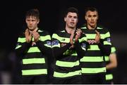 12 March 2018; Shamrock Rovers players, from left, Luke Byrne, Joel Coustrain and Graham Burke during the SSE Airtricity League Premier Division match between Cork City and Shamrock Rovers at Turner's Cross in Cork. Photo by Stephen McCarthy/Sportsfile