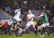 16 March 2018; Gabriel Ibitoye of England catches a high ball ahead of Michael Silvester of Ireland during the U20 Six Nations Rugby Championship match between England and Ireland at the Ricoh Arena in Coventry, England. Photo by Harry Murphy/Sportsfile