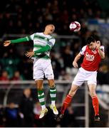 16 March 2018; Owen Garvan of St Patrick's Athletic in action against Graham Burke of Shamrock Rovers during the SSE Airtricity League Premier Division match between Shamrock Rovers and St Patrick's Athletic at Tallaght Stadium in Tallaght, Dublin. Photo by Eóin Noonan/Sportsfile
