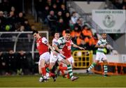 16 March 2018; Ronan Finn of Shamrock Rovers in action against Owen Garvan of St Patrick's Athletic during the SSE Airtricity League Premier Division match between Shamrock Rovers and St Patrick's Athletic at Tallaght Stadium in Tallaght, Dublin. Photo by Eóin Noonan/Sportsfile