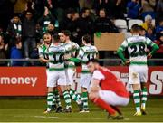 16 March 2018; Ethan Boyle of Shamrock Rovers celebrates with team mates after his cross is deflected in for his side's first goal during the SSE Airtricity League Premier Division match between Shamrock Rovers and St Patrick's Athletic at Tallaght Stadium in Tallaght, Dublin. Photo by Eóin Noonan/Sportsfile