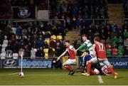 16 March 2018; Players from both sides watch as Ethan Boyle of Shamrock Rovers' deflected cross goes in for his side's first goal of the game during the SSE Airtricity League Premier Division match between Shamrock Rovers and St Patrick's Athletic at Tallaght Stadium in Tallaght, Dublin. Photo by Eóin Noonan/Sportsfile