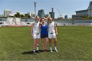 17 March 2018; Dublin players, from left, Ciara Trant, Sinéad Finnegan and Nicole Owens before the 2016 All-Stars v 2017 All-Stars Exhibition match on the TG4 Ladies Football All-Star Tour 2018. Chulalongkorn University Football Club Stadium, Bangkok, Thailand. Photo by Piaras Ó Mídheach/Sportsfile