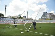 17 March 2018; Groundsmen put the goalposts in place before the 2016 All-Stars v 2017 All-Stars Exhibition match during the TG4 Ladies Football All-Star Tour 2018. Chulalongkorn University Football Club Stadium, Bangkok, Thailand. Photo by Piaras Ó Mídheach/Sportsfile