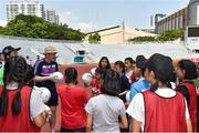 17 March 2018; William Harmon, LGFA, during a coaching session with local children before the 2016 All-Stars v 2017 All-Stars Exhibition match on the TG4 Ladies Football All-Star Tour 2018. Chulalongkorn University Football Club Stadium, Bangkok, Thailand. Photo by Piaras Ó Mídheach/Sportsfile