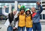 17 March 2018: Supporters, from left, Lisa Plazon, Aoife McDaid, Sinead Quigley and Leah Hoey, all age sixteen and from County Louth prior to the AIB GAA Football All-Ireland Senior Club Championship Final match between Corofin and Nemo Rangers at Croke Park in Dublin. Photo by David Fitzgerald/Sportsfile