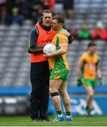17 March 2018: Corofin manager Kevin O'Brien speaking with Ciarán McGrath ahead of the AIB GAA Football All-Ireland Senior Club Championship Final match between Corofin and Nemo Rangers at Croke Park in Dublin. Photo by Eóin Noonan/Sportsfile