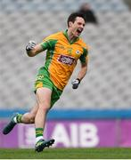 17 March 2018: Michael Farragher of Corofin celebrates after scoring his side's second goal during the AIB GAA Football All-Ireland Senior Club Championship Final match between Corofin and Nemo Rangers at Croke Park in Dublin. Photo by Eóin Noonan/Sportsfile