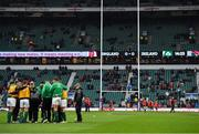 17 March 2018; Ireland head coach Joe Schmidt speaks to his players prior to the NatWest Six Nations Rugby Championship match between England and Ireland at Twickenham Stadium in London, England. Photo by Brendan Moran/Sportsfile