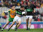 17 March 2018: Stephen Cronin of Nemo Rangers is tackled by Ian Burke of Corofin during the AIB GAA Football All-Ireland Senior Club Championship Final match between Corofin and Nemo Rangers at Croke Park in Dublin. Photo by Eóin Noonan/Sportsfile