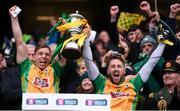 17 March 2018: Corofin joint captains Ciarán McGrath, left, and Micheál Lundy lift the Andy Merrigan Cup following the AIB GAA Football All-Ireland Senior Club Championship Final match between Corofin and Nemo Rangers at Croke Park in Dublin. Photo by Stephen McCarthy/Sportsfile