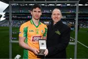 17 March 2018: Brian Keating, AIB Group Propositions & Brands Director, presents Martin Farragher of Corofin with the Man of the Match award for his outstanding performance in the AIB Senior Football Club Championship Final, Corofin vs Nemo Rangers in Croke Park on St Patrick's Day. For exclusive content and behind the scenes action of the AIB GAA & Camogie Club Championships follow AIB GAA on Facebook, Twitter, Instagram and Snapchat and www.aib.ie/gaa. Photo by Stephen McCarthy/Sportsfile