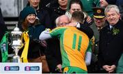 17 March 2018: President of Ireland Michael D. Higgins congratulates Micheál Lundy of Corofin following the AIB GAA Football All-Ireland Senior Club Championship Final match between Corofin and Nemo Rangers at Croke Park in Dublin. Photo by David Fitzgerald/Sportsfile
