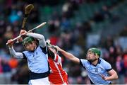 17 March 2018: Shane Dowling, left, and Ronan Lynch of Na Piarsaigh in action against Jake Malone of Cuala during the AIB GAA Hurling All-Ireland Senior Club Championship Final match between Cuala and Na Piarsaigh at Croke Park in Dublin. Photo by Stephen McCarthy/Sportsfile