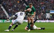 17 March 2018; Jordan Larmour of Ireland is tackled by Elliot Daly of England during the NatWest Six Nations Rugby Championship match between England and Ireland at Twickenham Stadium in London, England. Photo by Ramsey Cardy/Sportsfile
