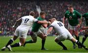 17 March 2018; Garry Ringrose of Ireland is tackled by Joe Marler, left, and Dan Cole of England during the NatWest Six Nations Rugby Championship match between England and Ireland at Twickenham Stadium in London, England. Photo by Ramsey Cardy/Sportsfile