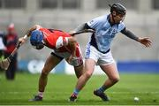 17 March 2018: Peter Casey of Na Piarsaigh in action against John Sheanon of Cuala during the AIB GAA Hurling All-Ireland Senior Club Championship Final match between Cuala and Na Piarsaigh at Croke Park in Dublin. Photo by David Fitzgerald/Sportsfile