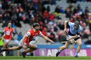 17 March 2018: Cathal King of Na Piarsaigh is tackled by Mark Schutte of Cuala during the AIB GAA Hurling All-Ireland Senior Club Championship Final match between Cuala and Na Piarsaigh at Croke Park in Dublin. Photo by Eóin Noonan/Sportsfile