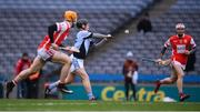 17 March 2018: Peter Casey of Na Piarsaigh shoots to score his side's first goal during the AIB GAA Hurling All-Ireland Senior Club Championship Final match between Cuala and Na Piarsaigh at Croke Park in Dublin. Photo by Stephen McCarthy/Sportsfile