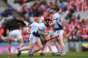 17 March 2018: Peter Casey of Na Piarsaigh celebrates after scoring his side's first goal during the AIB GAA Hurling All-Ireland Senior Club Championship Final match between Cuala and Na Piarsaigh at Croke Park in Dublin. Photo by Eóin Noonan/Sportsfile