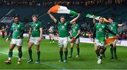 17 March 2018; Ireland players, from left, Bundee Aki, Garry Ringrose, Jordi Murphy, Conor Murray and James Ryan celebrate after the NatWest Six Nations Rugby Championship match between England and Ireland at Twickenham Stadium in London, England. Photo by Brendan Moran/Sportsfile
