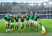 17 March 2018; Ireland players, from left, Conor Murray, Bundee Aki, Garry Ringrose, Jonathan Sexton, Jordi Murphy, James Ryan and Dan Leavy of Ireland of Ireland celebrate after the NatWest Six Nations Rugby Championship match between England and Ireland at Twickenham Stadium in London, England. Photo by Brendan Moran/Sportsfile