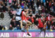 17 March 2018: Mark Schutte of Cuala in action against Cathal King of Na Piarsaigh during the AIB GAA Hurling All-Ireland Senior Club Championship Final match between Cuala and Na Piarsaigh at Croke Park in Dublin. Photo by Eóin Noonan/Sportsfile