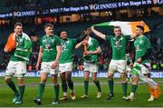 17 March 2018; Ireland players, from left, Jordi Murphy, Garry Ringrose, Bundee Aki, Jonathan Sexton, Dan Leavy and Conor Murray celebrate following the NatWest Six Nations Rugby Championship match between England and Ireland at Twickenham Stadium in London, England. Photo by Ramsey Cardy/Sportsfile