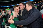 17 March 2018; Jordan Larmour of Ireland celebrates with supporters following the NatWest Six Nations Rugby Championship match between England and Ireland at Twickenham Stadium in London, England. Photo by Ramsey Cardy/Sportsfile
