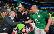 17 March 2018; Rory Best of Ireland is congratulated by supporters following the NatWest Six Nations Rugby Championship match between England and Ireland at Twickenham Stadium in London, England. Photo by Ramsey Cardy/Sportsfile