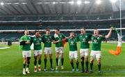 17 March 2018; Ireland players, from left, Conor Murray, Bundee Aki, Garry Ringrose, Jonathan Sexton, Jordi Murphy, James Ryan and Dan Leavy celebrate following the NatWest Six Nations Rugby Championship match between England and Ireland at Twickenham Stadium in London, England. Photo by Ramsey Cardy/Sportsfile