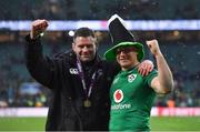 17 March 2018; Ireland players Fergus McFadden, left, and Jordan Larmour celebrate with the trophy after the NatWest Six Nations Rugby Championship match between England and Ireland at Twickenham Stadium in London, England. Photo by Brendan Moran/Sportsfile