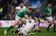 17 March 2018; Owen Farrell of England is tackled by Jordan Larmour of Ireland during the NatWest Six Nations Rugby Championship match between England and Ireland at Twickenham Stadium in London, England. Photo by Ramsey Cardy/Sportsfile