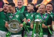 17 March 2018; Ireland players, from left, Cian Healy, Jonathan Sexton, John Ryan, Jordan Larmour Rory Best and Andrew Porter celebrate with the Triple Crown and Six Nations Championship trophies after the NatWest Six Nations Rugby Championship match between England and Ireland at Twickenham Stadium in London, England. Photo by Brendan Moran/Sportsfile