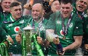 17 March 2018; Ireland players, from left, Jordan Larmour, Rory Best and Peter O'Mahony celebrate with the trophy after the NatWest Six Nations Rugby Championship match between England and Ireland at Twickenham Stadium in London, England. Photo by Brendan Moran/Sportsfile