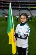 17 March 2018: AIB flagbearer Leanne Kate Costello, age 10, who won an AIB flag bearer competition to wave on Corofin sat the AIB Senior Football Club Championship Final between Corofin and Nemo Rangers at Croke Park on St. Patrick's Day. For exclusive content and behind the scenes action of the AIB GAA & Camogie Club Championships follow AIB GAA on Facebook, Twitter, Instagram and Snapchat and www.aib.ie/gaa. Photo by Stephen McCarthy/Sportsfile