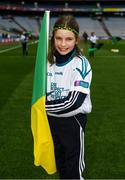 17 March 2018: AIB flagbearer Amy Jordan, age 10, who won an AIB flag bearer competition to wave on Corofin sat the AIB Senior Football Club Championship Final between Corofin and Nemo Rangers at Croke Park on St. Patrick's Day. For exclusive content and behind the scenes action of the AIB GAA & Camogie Club Championships follow AIB GAA on Facebook, Twitter, Instagram and Snapchat and www.aib.ie/gaa. Photo by Stephen McCarthy/Sportsfile