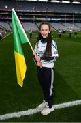 17 March 2018: AIB flagbearer Eilish Horan, age 11, who won an AIB flag bearer competition to wave on Corofin sat the AIB Senior Football Club Championship Final between Corofin and Nemo Rangers at Croke Park on St. Patrick's Day. For exclusive content and behind the scenes action of the AIB GAA & Camogie Club Championships follow AIB GAA on Facebook, Twitter, Instagram and Snapchat and www.aib.ie/gaa. Photo by Stephen McCarthy/Sportsfile