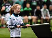 17 March 2018: AIB flagbearer Grace Bowler, age 11, who won an AIB flag bearer competition to wave on Nemo Rangers at the AIB Senior Football Club Championship Final between Corofin and Nemo Rangers at Croke Park on St. Patrick's Day. For exclusive content and behind the scenes action of the AIB GAA & Camogie Club Championships follow AIB GAA on Facebook, Twitter, Instagram and Snapchat and www.aib.ie/gaa. Photo by Stephen McCarthy/Sportsfile