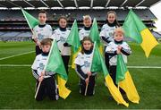 17 March 2018: AIB flagbearers, back row, from left, Tommy Dempsey, age 12, Mia O'Callaghan, age 9, Killian Joyce, age 10, Eilish Horan, age 11, front row, Cathal Burke, age 8, Amy Jordan, age 10, and Evan O'Sullivan, age 8, who all won an AIB flag bearer competition to wave on Corofin at the AIB Senior Football Club Championship Final between Corofin and Nemo Rangers at Croke Park on St. Patrick's Day. For exclusive content and behind the scenes action of the AIB GAA & Camogie Club Championships follow AIB GAA on Facebook, Twitter, Instagram and Snapchat and www.aib.ie/gaa. Photo by Stephen McCarthy/Sportsfile