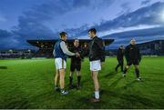 17 March 2018; Kerry captain Fionn Fitzgerald and Kildare captain Eoin Doyle exchange a handshake in the company of referee David Coldrick prior to the Allianz Football League Division 1 Round 6 match between Kerry and Kildare at Austin Stack Park in Tralee, Co Kerry. Photo by Diarmuid Greene/Sportsfile
