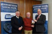 17 March 2018: Brendan Bannon of Cashel GAA, Longford, receives first prize, a Renault Dynamique, from Uachtarán Chumann Lúthchleas Gael John Horan and licensee of the draw, John Greene during the presentation of prizes to the winners of the GAA National Club Draw at Croke Park in Dublin. Photo by Eóin Noonan/Sportsfile