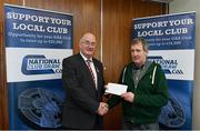 17 March 2018: Ger Butler, on behalf of Tom Power of Sliabh gCua St. Mary's GAA, Waterford, receives the fourth prize, All Ireland Hurling and football premium package from Uachtarán Chumann Lúthchleas Gael John Horan during the presentation of prizes to the winners of the GAA National Club Draw at Croke Park in Dublin. Photo by Eóin Noonan/Sportsfile
