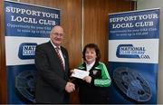 17 March 2018: Carmel Somers of Milltown GAA, Westmeath, receives the sixth prize, €1000 Lynn Providers voucher from Uachtarán Chumann Lúthchleas Gael John Horan during the presentation of prizes to the winners of the GAA National Club Draw at Croke Park in Dublin. Photo by Eóin Noonan/Sportsfile