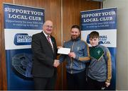 17 March 2018: Gerry Redmond and Ciaran Redmond, of Sean O'Mahony's GAA, Louth, receive the fourteenth prize, All Ireland hurling premium package from Uachtarán Chumann Lúthchleas Gael John Horan during the presentation of prizes to the winners of the GAA National Club Draw at Croke Park in Dublin. Photo by Eóin Noonan/Sportsfile