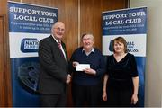 17 March 2018: John Flemming of St.Bridgets GAA, Dublin, receives the 20th prize, €250 Arnotts voucher from Uachtarán Chumann Lúthchleas Gael John Horan during the presentation of prizes to the winners of the GAA National Club Draw at Croke Park in Dublin. Photo by Eóin Noonan/Sportsfile