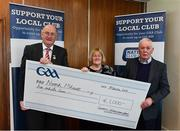 17 March 2018: Representatives of the Naomh Mhuire Convoy GAA Club, Donegal, Brendan Kelly and Carol Macken receiving their prize from Uachtarán Chumann Lúthchleas Gael John Horan during the presentation of prizes to the winners of the GAA National Club Draw at Croke Park in Dublin. Photo by Eóin Noonan/Sportsfile
