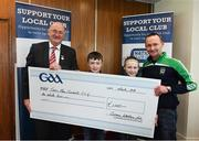 17 March 2018: Representatives of the Sean Mac Cumhails GAA Club, Noel, Karl and Riona Doherty receiving their prize from Uachtarán Chumann Lúthchleas Gael John Horan during the presentation of prizes to the winners of the GAA National Club Draw at Croke Park in Dublin. Photo by Eóin Noonan/Sportsfile